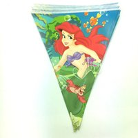 Wholesale Event Decoration Items - Wholesale-12pcs 1pack The Mermaid theme Cartoon Flags chilren happy Birthday Party Items For Kids favors Event Party Supplies Decoration