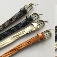 Wholesale wax clothes - Wholesale- Classic Vintage Retro Clothing Wax Rope Knitted Belts PU Bronze Alloy Pin Buckle Fashion Hand Woven Ladies Belt for Women