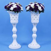 Wholesale roman supplies - Elegant White Wedding Decoration Props Vase Styles Roman Column Road Guide T Station Aisle Shooting Supplies 4 pcs