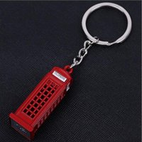 Wholesale Vintage Red Telephone - Vintage Telephone Booth British Keychain Miniature London Key Ring Diecast Metal Carabiner Keychain with Zinc Alloy for Gift