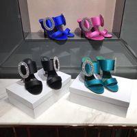 Wholesale Shoe Sole Materials - 2017 new silk material women high heels 9.5cm rhinestone summer slipper shoes, sheepskin inside,genuine leather sole, best quality