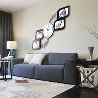 DIY Photo Frame Reliure murale Autocollant design moderne 3D Crystal Mirror Frame Wall Clock Décoration intérieure Happy Gifts Mural DIY Pegatinas Wall Clo