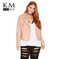 Wholesale Moto Jacket Women Fashion - Wholesale- Kissmilk Plus Size New Fashion Women Clothing Casual Long Sleeve Pockets Jacket Short Slim Big Size Moto Jacket 3XL 4XL 5XL 6XL