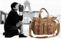 Wholesale Men Canvas Vintage Leather Messenger - AKARMY canvas bag 36*30*12cm Brad Pitt shoulder diagonal backpack retro man messenger bag leisure travel bag