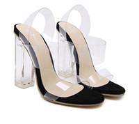 tacones gruesos al por mayor-2017 Chic transparentes gruesos zapatos de tacón alto de cristal de PVC sandalias fiesta prom tamaño 35 a 40