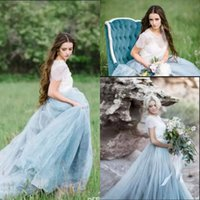 Fairy Beach Boho Lace Brautkleider High-Neck A Line Weiche Tulle Cap Ärmel Backless Hellblau Röcke Plus Size Bohemian Brautkleid