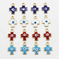Wholesale Evil Eye Cross Charm - Wholesale-20pcs 19mm 2016 The new evil eye charm enamel metal cross charm pendant with free shipping HJ01634