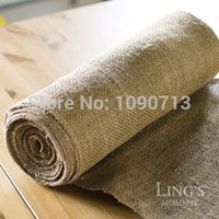 Wholesale Table Deco For Weddings - Wholesale-Free Shipping 10 Meters 35.5cm Width Jute Table Runner Burlap Fabric For Burlap Chair Sashes Burlap Ribbon Wedding Deco Supply