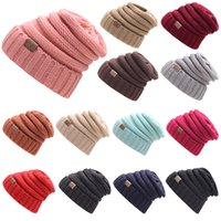 Wholesale Wholesale Wool Skully Hats - Hot CC Hat 17 Colors Chunky Knitted Beanies Winter Trendy Warm Headware Skully Caps Stretchy Men Women Hats