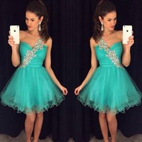 Wholesale Turquoise Cocktail Beaded Dress - Sparkly turquoise Homecoming Dresses 2017 Beaded Crystal One shoulder Short Prom Dresses Tulle mini cocktail Party Dress