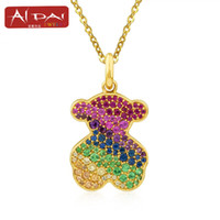 Wholesale Necklace Chain Distribution - 2017 new promotional colorful Crystal Diamond Ladies Bear Pendant free distribution