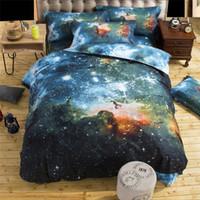 cama de espacio reina al por mayor-Venta al por mayor- Envío gratuito 2016 Nueva 4 / 3pcs Galaxy 3D Juegos de cama Universo Espacio exterior Funda nórdica Sábana / Sábana ajustable funda de almohada