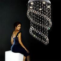 lampes hôtelières à vendre achat en gros de-Lustre en cristal de vente K9 cristal Dia500 * H800MM lampe de lustre moderne LED lumière Pedant pour restaurant de chambre