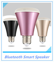 Wholesale cree pink led - 4W Bluetooth Smart Speaker LED E27 Light Bulb APP Smartphone Controlled Dimmable RGBW Color Changing Music Lights