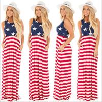 Wholesale Striped Tank Top Dress - Casual Sleeveless Pattern Stars Women Maxi Dresses Tank Top Striped Long Dresses Dress Vestidos 2018