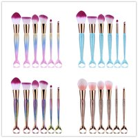 Wholesale Beauty Brushes - HOT Mermaid Makeup Brushes 6 PCS Makeup Brushes Tech Professional Beauty Cosmetics Brushes Sets Free Shipping