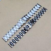 черный металл часы ремень 22mm оптовых-Новый черный белый Керамический ремешок для часов с нержавеющей стали серебряный металл смотреть band ремешок браслет fit smart watch S3 14 мм 16 мм 18 мм 20 мм 22 мм