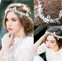 Wholesale Cheap Hair Bands Flowers - cheap Free Shipping Cheap 2016 New Vintage Wedding Bridal Hair Band Pearls Crystals Beaded Bridal Hair Decoration