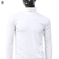 Wholesale Wholesale Men S Thermal Shirts - Wholesale- Men Fashion Thermal Turtle Neck Sweater Slim Fit Long Sleeve Stretch Shirt Top