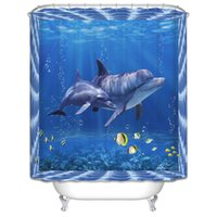 Wholesale Modern Print Curtains - Wholesale- High Quality 3D Dolphin Seascape bathroom curtains Digital Printed Shower Curtain Polyester Mildew Waterproof Blue Decor
