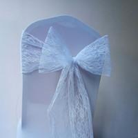 ingrosso fasce di pizzo verde-Pizzo sedia da sposa archi matrimonio festa di compleanno eventi telai della sedia su misura bianco avorio coperture della sedia 15 * 250 cm