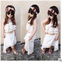 Wholesale Irregular Hem Skirt - Children cute outfits girls lace hollow out dew shoulder white tops+lace irregular hem princess skirt 2pcs sets kids fashion clothing C0422