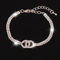 Wholesale Crysta Set - 2017 new Women Roman Chain Clear Crysta braceletl Bangle Rhinestone 2 rows rose gold color Bracelet for women