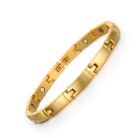 Wholesale Magnetic Clasps Jewellery - 2017 Healing Women Magnetic Gold Color Bracelet Brushed Wristband Bangle Jewellery Ladies Gift Magnets Wearing Charm Christmas Gift B879S