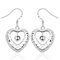 Wholesale Peach Chandelier - new arrival Hollow peach heart hanging beads sterling silver plate jewelry earring for women E334,fashion 925 silver eaarings 10 pairs a lot