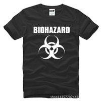 Wholesale Mens White Cotton Tee Shirts - Resident Evil Biohazard Logo Printed Mens Men Tshirt Fashion 2017 New Short Sleeve Cotton T-shirt Tee Camisetas Hombre