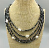 collier de perles baroques 925 achat en gros de-Hématite facettée à perles rondes baroques d'eau douce JLN avec 925 en argent sterling Quatre rangées quatre tour de cou