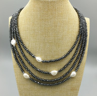 Wholesale Multi Strand Silver Pearl Necklace - JLN Multi Layer Freshwater Baroque Pearl Roundel Faceted Hematite With 925 Sterling Silver Four Row Four Strand Clasp Choker Necklace