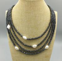 multi-strang silber perlenkette großhandel-JLN Multi Schicht Süßwasser Barocke Perle Roundel facettierten Hämatit mit 925 Sterling Silber Vierreihige Vier-Strang-Verschluss Choker Halskette