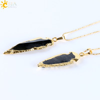 Wholesale Black Onyx Agate Pendant - CSJA Natural Black Indian Onyx Agate Arrowhead Charms Pendants Necklace Electroplated Gold Plated Raw Stone Energy Handmade Jewelry E310 B