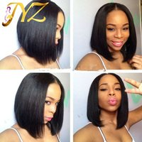 Wholesale cheap straight human hair wigs online - Straight Full Lace Wigs Bob Wigs Cheap Human Hair Pre Plucked Lace Wigs Density Lace Front Wig Medium Size Cap