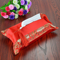 Wholesale Luxury Seat Covers For Cars - Luxury Patchwork Facial Tissue Boxes Removable Silk Cotton Tassel Kleenex Cases Covers for Car Home Decor ZA4140