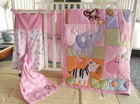 Wholesale Pink Crib Skirts - Muslin Bear 4-6 Items Pink Zoo Pattern Embroidery Baby Bedding Set Baby Quilt+Bumper+Bed Skirt+Mattress Cover+Diaper Bag+Blanket