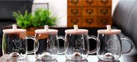 Wholesale Wholesale Rabbit Water Bottles - 2017 Creative 400ml High borosilicate glass Bottle cup transparent cute cartoon rabbit porcelain lid water cup 4 style coffee mugs wholesale