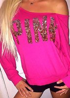 Wholesale Wholesale Hot Pink Tee Shirts - Wholesale- autumn fall Fashion Brand T Shirt Women letter pink Printed T-shirt Women Tops Tee Shirt Femme New Arrivals Hot Sale Casual