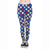Wholesale Dots Leggings Ladies - Lady Leggings Emoji Dots 3D Graphic Full Print Women Skinny Stretchy Pants Girls Workout Full Length Yoga Tight Capris Trousers New (J43850)