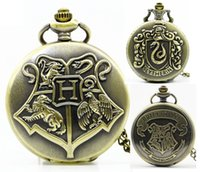 Wholesale Pocket Watch 47mm - Wholesale Harry potter 47MM necklace chain pocket watch mens womens students quartz Witchcraft and Wizardry Bronze kids watches