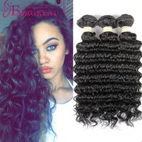 Wholesale Deep Brazilian Hair - Hot Selling!!! Deep Wave Brazilian Human Hair Weaves 7A Grade 100% Unprocessed Human Hair Extensions 3Bundles Brazilian Human Hair Weaves