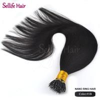 Wholesale Nano Ring Human Hair Extensions - Wholesale- 1g s 100g pack Micro Bead Nano Ring Hair Extensions 20inch 50cm #1B Natural Black 100% Brazilian Human Remy Straight Hair
