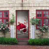 Wholesale tree life wall decal - DIY 3D effect Festival Door Stickers Christmas Santa Snow Xmas Tree Waterproof Door Poster Store Home Decoration 200*77cm Sticker