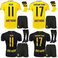 Wholesale Dortmund Jerseys - Borussia Dortmund soccer jersey 2016 2017 2018 REUS AUBAMEYANG MKHITARYAN WEIGL PULISIC 16 17 Set +sock Football Shirts