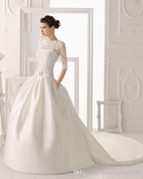 Wholesale Gold Mesh Ribbon - 2017 New High-Necked Long-Sleeved A-Line Formal Wedding Dresses Mesh Lace Applique Church Long Tail Bride Sexy Wedding Dress Plus Size