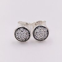 Wholesale Dazzling White Wholesale - Authentic 925 Sterling Silver Studs Dazzling Droplets, Clear Cz Fits European Pandora Style Jewelry