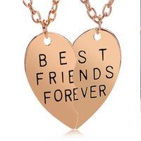Wholesale Couple Necklace Design - New Design Heart Necklace Friendship Jewelry Friend Pendant Chains Golden Color Stainless Steel Best Friend Couple Necklace