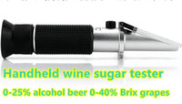 Wholesale Wine Alcohol Meter - Handheld refractometer Wine sugar alcohol concentration meter densimeter 0-25% alcohol beer 0-40% Brix grapes ATC 50% off
