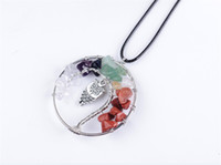 Wholesale Owl Branch Pendant Necklace - hot! 2017 new fashion circular agate gravel life tree owl pendant necklace DIY handmade tree branch retro ethnic necklace jewelry accessorie